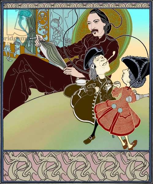 Robert Louis Stevenson - illustration of the author