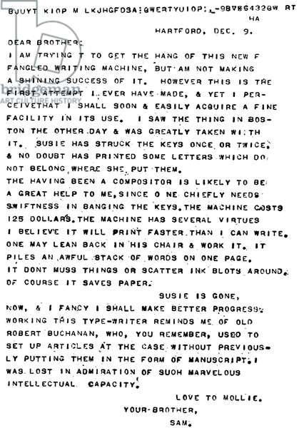Mark Twain 's first attempt at typewritting
