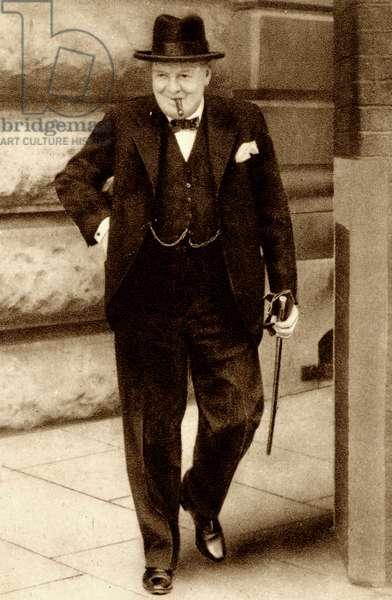 Sir Winston Churchill leaving