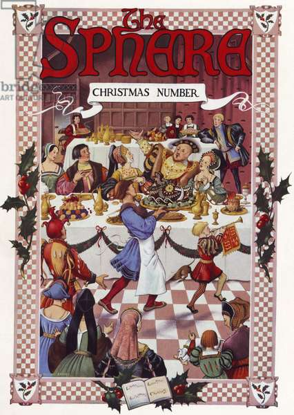 Christmas scene at Henry VIII 's table Illustration in The Sphere newspaper