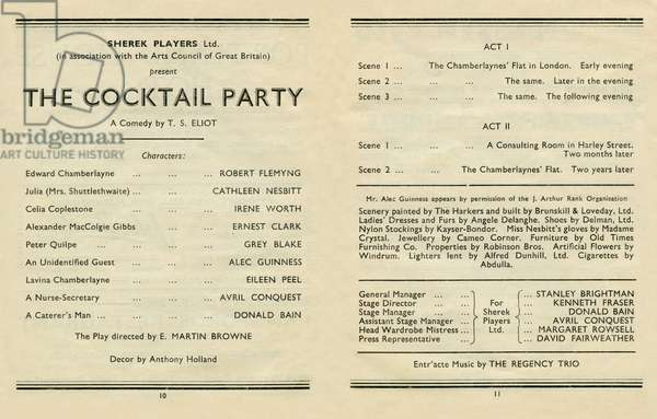 T S Eliot - The Cocktail Party, programme DUPLICATE