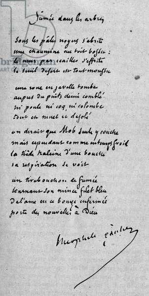 Handwritten poem entitled 'Fumée'