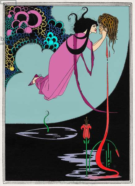 The Climax ', illustration for ' Salome ' by Oscar Wilde first performed in England on 10 May 1905. Richard Strauss 's opera based on this play premiered 9 December 1905 Dresden. Colourised version by Rocio Aguilar Nuevo.