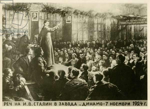 Stalin addressing a meeting of the workers