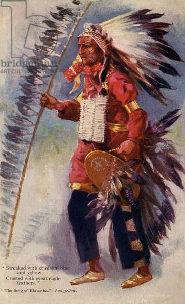 Native American dressed as Hiawatha