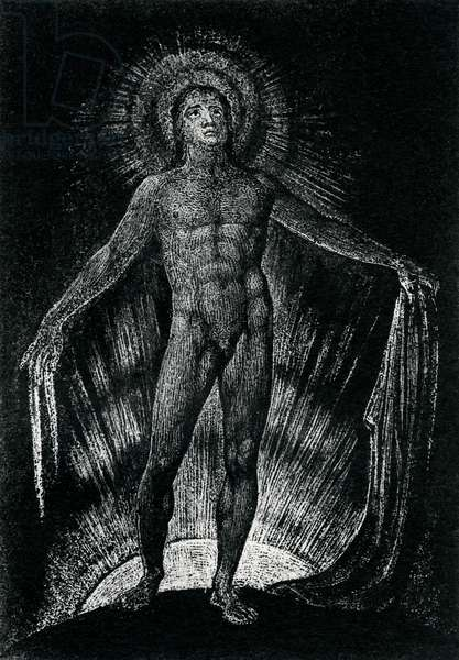 Milton Advancing Disrobed and Ungirded by William Blake