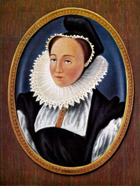 Portrait of Mary Queen of Scots, from a cigarette card after a miniature by Nicholas Hilliard, 1933 (colour litho)
