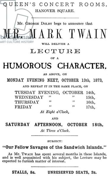Mark Twain poster for 'A Humorous Character'