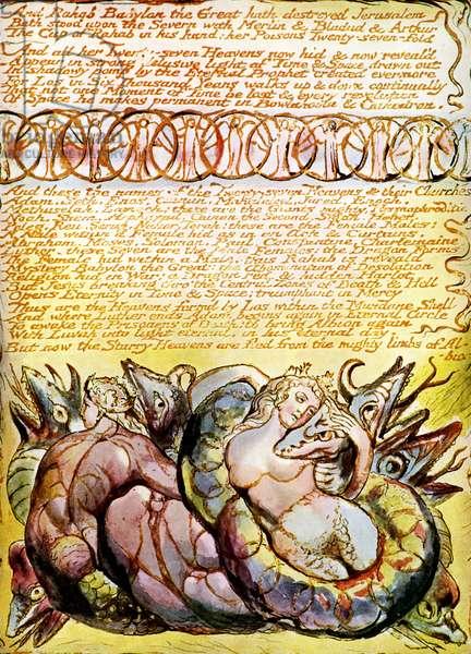 Rahab and Tirzah Embracing Dragons by William Blake