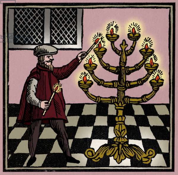 Lighting the menorah /
