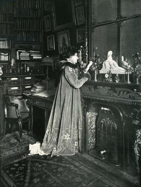 Sarah Bernhardt in her library