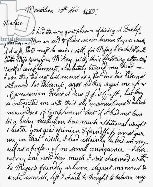 Letter from Robert Burns to Mrs F A Dunlop