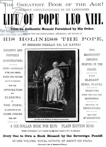 'Life of Pope Leo XIII'- poster promoting the book