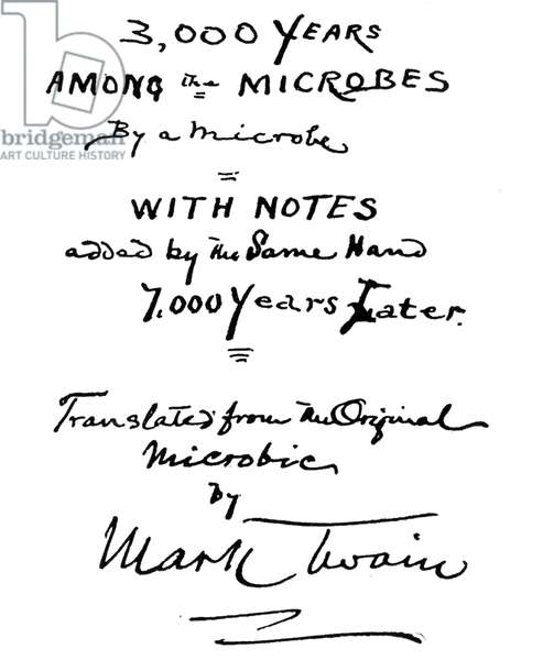 Mark Twain's suggested title-page for microbe book