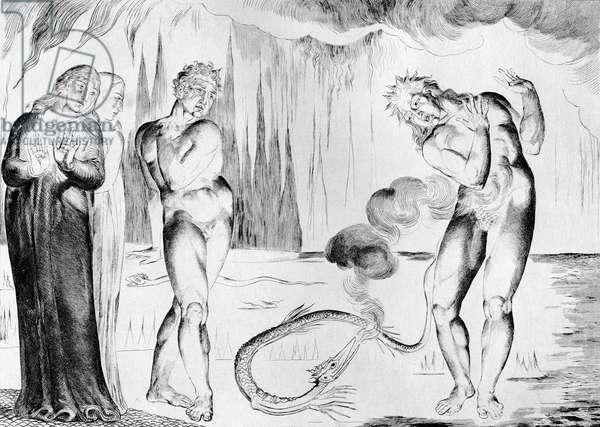 Buoso Attacked By Francesco Di Cavalcanti by William Blake