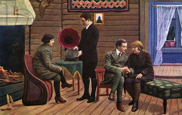 Early gramophone in photo