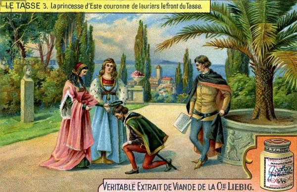 Princess of Este crowns Tasso with a laurel wreath