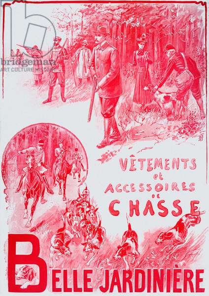 French advert for hunting clothes
