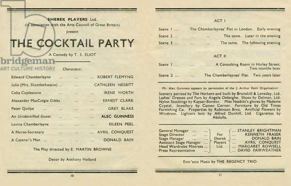 T S Eliot - The Cocktail Party, programme