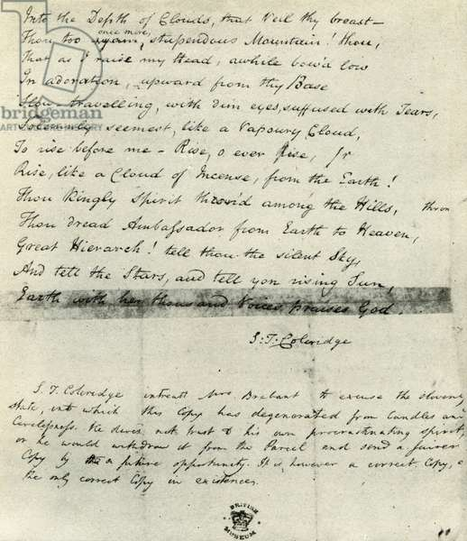Samuel Taylor Coleridge manuscript