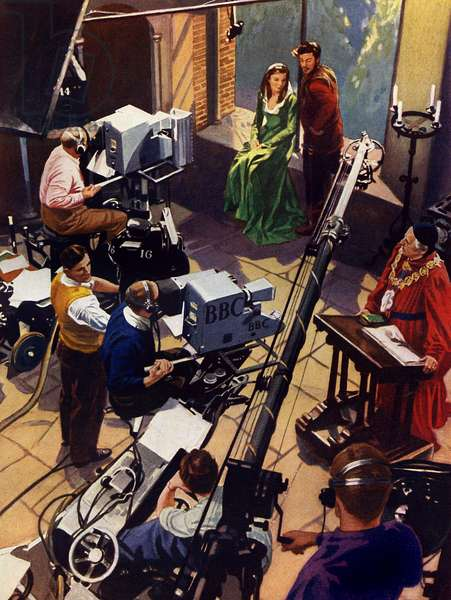 BBC Television studio, early 1950s
