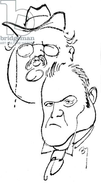 Hilaire Belloc and Gilbert Chesterton - caricature