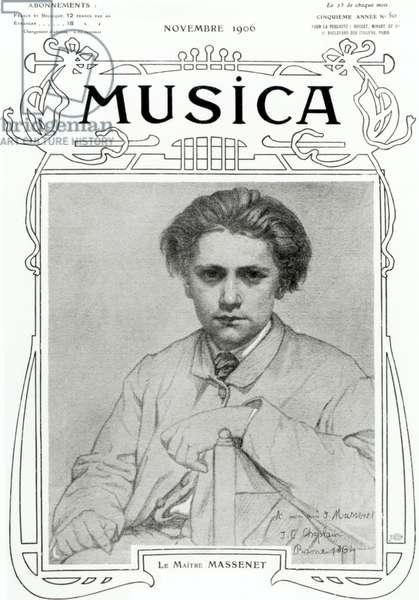 Musica cover, Novembre 1906: Le Maitre: Massenet.  Jules Massenet (1842-1912), French composer, aged 22 at the Villa Medici for the Grand Prix de Rome, 1864