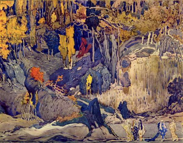 Set design for 'Prelude to the Afternoon of a Faun', 1912 (gouache on paper)