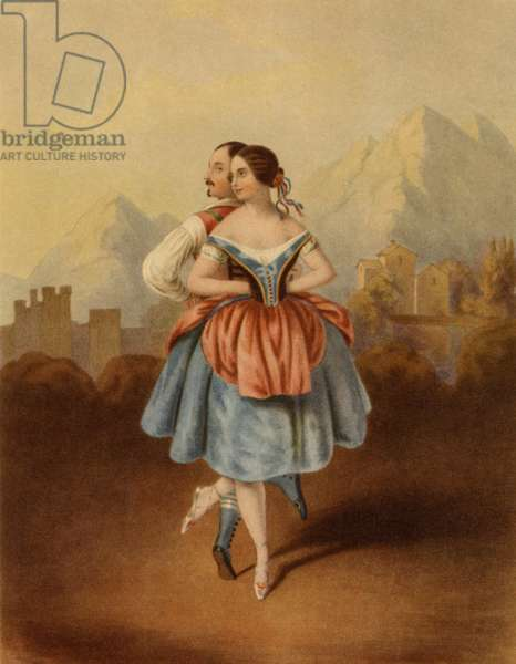 Fanny Cerrito (1817-1909) and Arthur Saint Leon (1821-1870) dancing in La Redowa Polka by Cesare Pugni, c. 1843