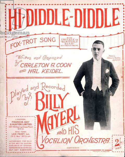 Mayerl Billy - photo on score cover 'Hi Diddle Diddle'