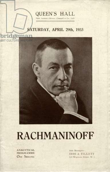 Sergei/y Vassilievich Rachmaninov performance at Queen's Hall - programme