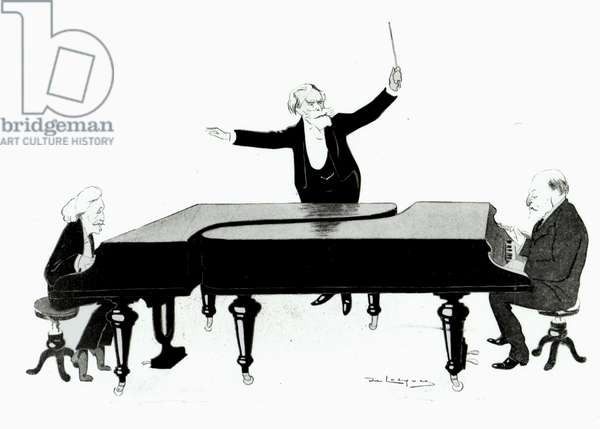 Camille Saint-Saëns caricatured at