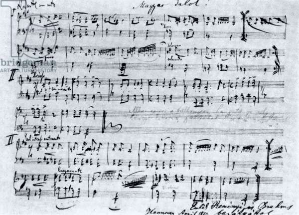 Brahms score with Hungarian