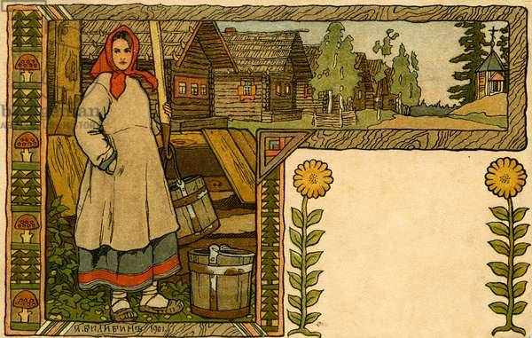 Russian peasant woman in traditional dress -