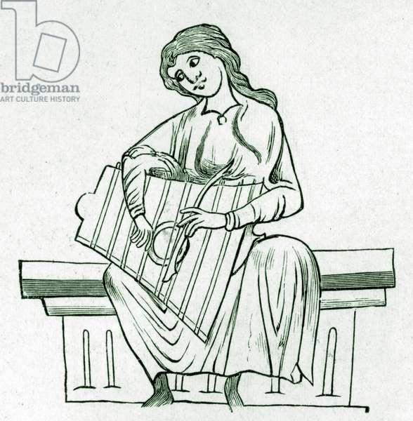 Irish lady playing Psalter