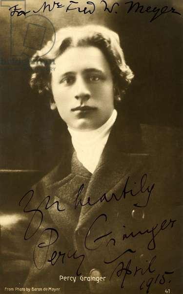 Percy GRAINGER'S signed portrait