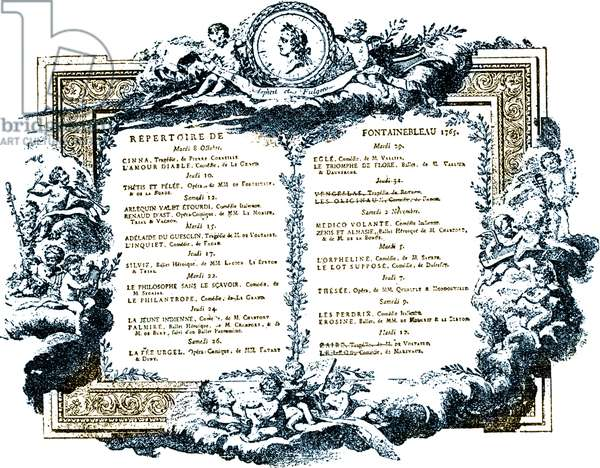 The programme of the Fontainebleau Theatre