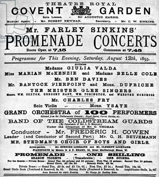 Programme for  Promenade Concerts, 1893