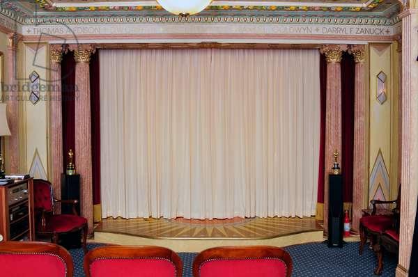 Velvet red curtains open