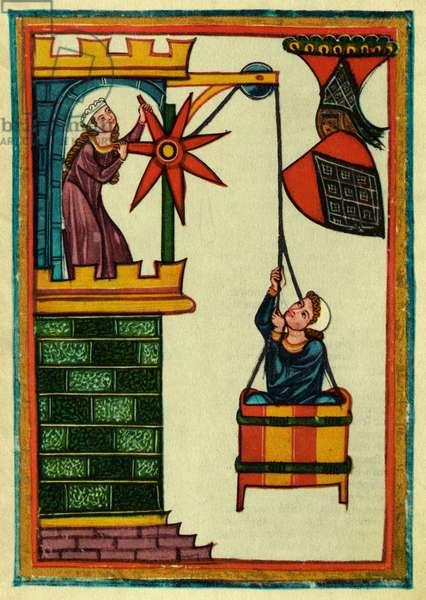 Herr Kristan von Hamle-portrait of the Minnesinger, or medieval German courtly love poet, c.1300 (miniature)