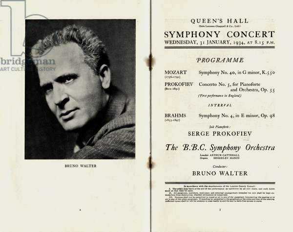 Bruno Walter on the programme for BBC Symphony Orchestra Concert at Queen's Hall, London, January 1934