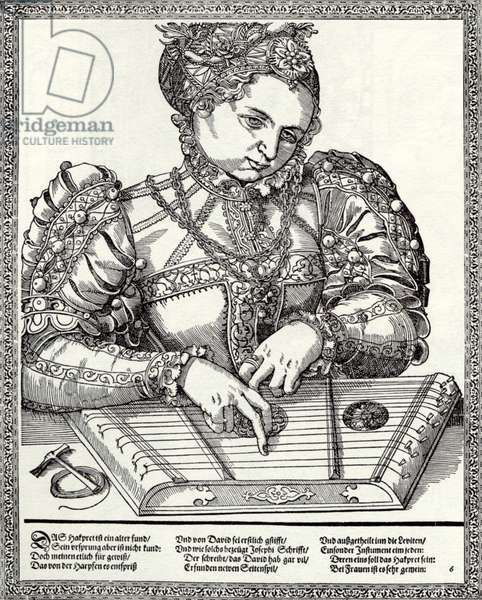Woman playing psaltery Mid-16th