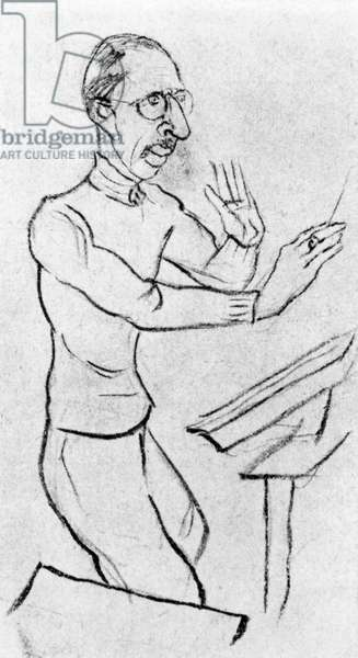 Igor Stravinsky conducting with baton