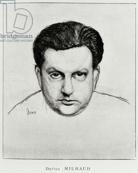 MILHAUD Darius drawn portrait