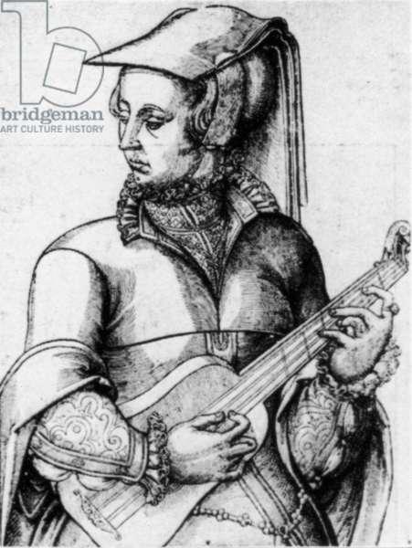 Woman playing guitar c1570