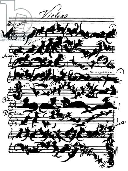 'Cat Violin Score' by Moritz von Schwind