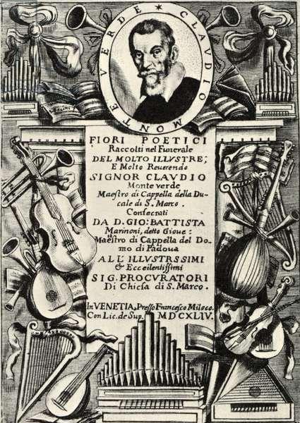 Claudio Monteverdi on score cover.