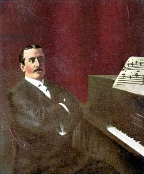 Giacomo Puccini at piano