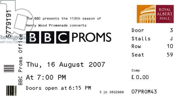 BBC Proms ticket dated
