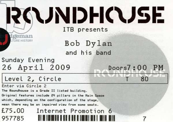 Roundhouse ticket for Bob Dylan concert